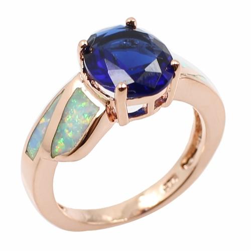 Moda CZ diamante simulado Opal plata de ley 925 anillo mujer chica boda compromiso joyas accesorio