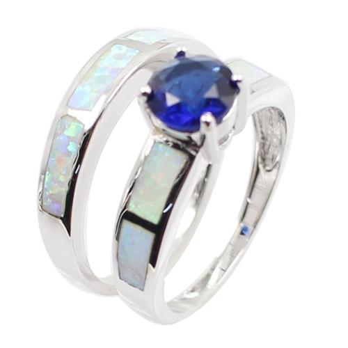 Plata de ley 925 moda 2Pcs apilable Opal simulado banda anillo conjunto con diamante CZ mujeres boda compromiso joyería