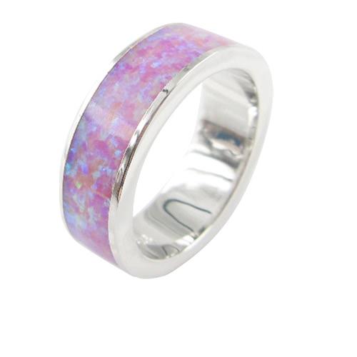 Moda clásica 5,5 mm apilable 925 plata simulado banda anillo mujer boda compromiso amor joyería del ópalo de