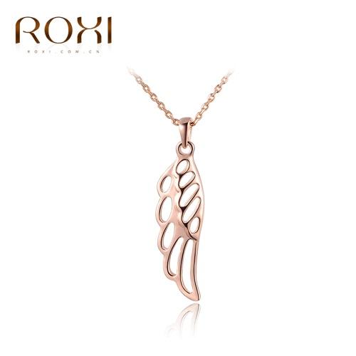 ROXI moda hueco del ala del ángel encanto colgante cadena collar mujer novia boda accesorio de la joyería