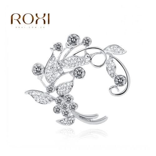 ROXI moda novia flor hoja broche Pin cristal Rhinestone joyería oro blanco electrochapado elegante brocha bufanda hebilla accesorios regalo de boda