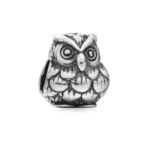 Romacci S925 Sterling Silver Cute Owl Animal Charm European Fashion Bead for 3mm Snake Chain Bracelet Bangle Necklace DIY Women Jewelry Accessory