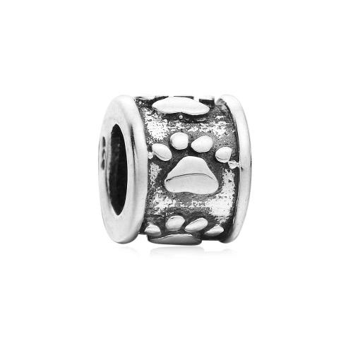 Romacci S925 plata perro cachorro huella grano encanto joyería DIY para 3mm suerte cadena pulsera brazalete collar moda mujer accesorio