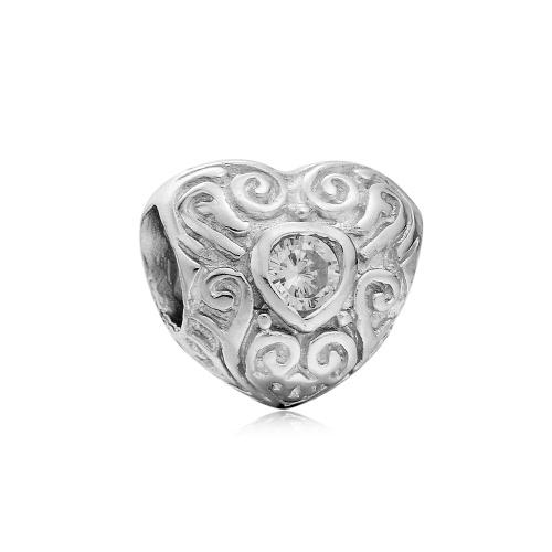 Romacci S925 plata esterlina CZ diamante amor corazón flor grano encanto joyería DIY para 3mm serpiente cadena pulsera brazalete collar accesorio de mujer fina