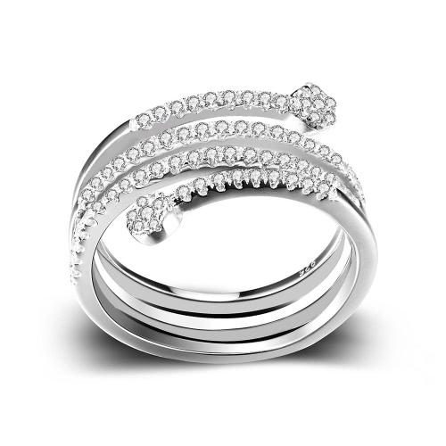 Anillo de compromiso de boda JURE 925 Anillo de plata con circonio Propuesta de reemplazo de Halo nupcial