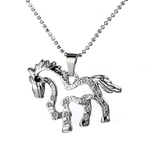 Woman Girl Fashion Silver Plated Rhinstone Crystal Unicorn Horse Animal Pingente Pendant Chain Jewelry para Party Wedding Gift