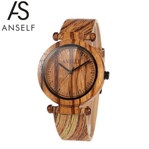 Anself Fashion de alta qualidade natural bambu relógio de pulso de madeira