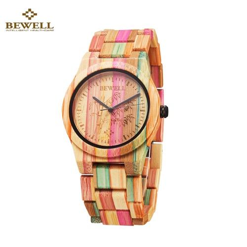 BEWELL hipoalergénico respetuosa del medio ambiente de bambú de madera, reloj Inmaculada con clase del análogo de cuarzo reloj de pulsera unisex