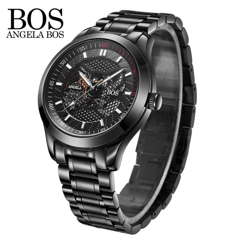 Angela Bos Men Relógio de pulso PU Leather Band Steel Watch Strap