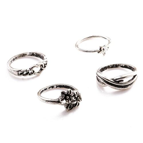 4 PC Art und Weise der neuen heißen Vintage Retro Anti-Silber überzogene Knöchel-Finger-Ring-Set Schmuck Accessoires für Frauen-Mädchen-Party Band