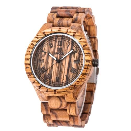 Marca de moda uWood estilo masculino del hombre luminoso analógico madera de alta calidad de madera del reloj de cuarzo del reloj del negocio