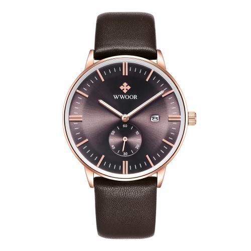 WWOOR marca de moda luminosa hombre del cuero genuino relojes de cuarzo Calendario elegante Hombre ocasional del reloj del reloj a prueba de agua + Caja de almacenamiento