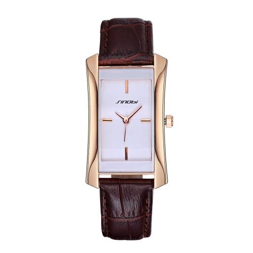 SINOBI 2016 Marca Moda Feminina Ouro / Prata Retângulo Quartz Leather Strap Relógios Mulheres Lady Dress Negócios Assista Casual