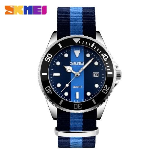 SKMEI marca de moda estilo de Inglaterra de la correa de nylon hombres y las mujeres ocasional del amante del reloj de cuarzo de agua a prueba de vestido Relojes del reloj del calendario Feminio Masculino Relógio