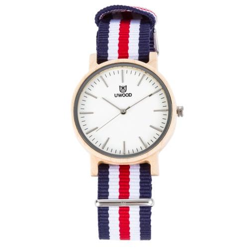 Uwood Marka Moda Luminous Mężczyźni Naturalne drewna klonowego Nylon Strap Watch Quartz Analogowe Drewniany Człowiek Casual Zegarki Masculino Relogio Najlepszy prezent