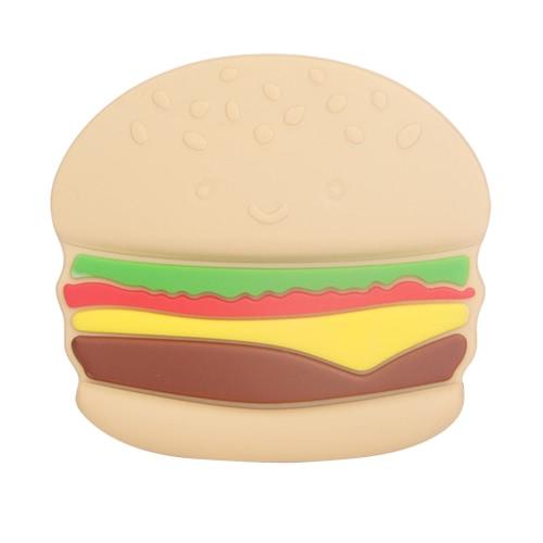 100% Lebensmittelqualität Silikon-Hand Chewable Hamburger Beißring Zahnen Anhänger Spielzeug-Baby-Kleinkind-Beruhigende Pflege Schmuck BPA frei