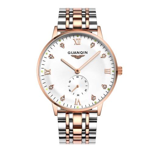 GUANQIN 3ATM Wasserdicht Automatische mechanische Uhr-Mann-Geschäfts-Uhr mit der zweiten Teilwahl Durable Armband analoge Armbanduhr