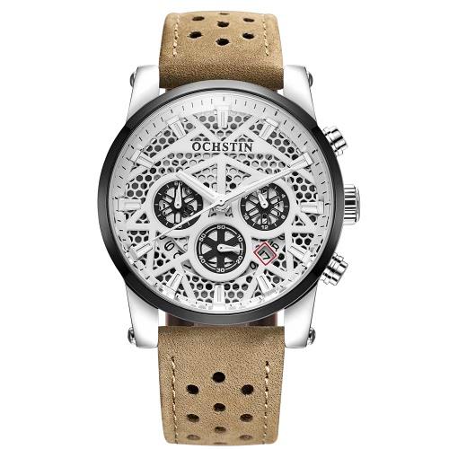 OCHSTIN 2017 lujo de la marca del cuero genuino de cuarzo relojes de los hombres esqueléticos luminoso a prueba de agua reloj de pulsera Hombre ocasional Calendario + Caja