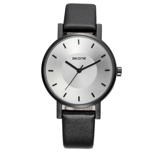 SKONE moda lujo cuarzo par relojes agua-prueba PU cuero amantes reloj hombres mujeres reloj casual