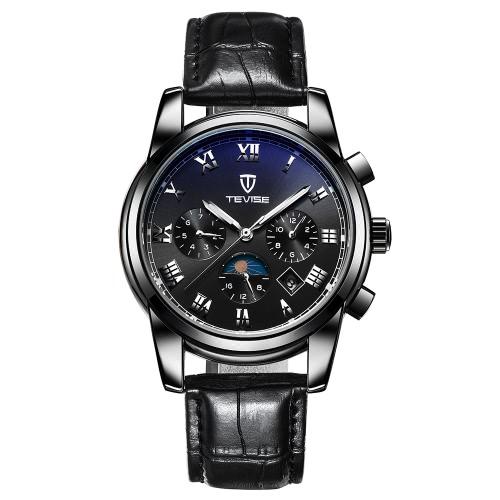 TEVISE Luxus wasserdicht leuchtende automatische Männer mechanische Uhr Selbst-Wicklung echtes Leder Man Business Armbanduhr Masculino Relogio + Box