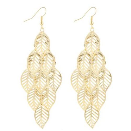 Euramerican estilo de moda multicapa hueco diseño oro chapado hojas todo el partido borla pendiente pendientes Ear Stud accesorios de joyería Moda mujer regalo