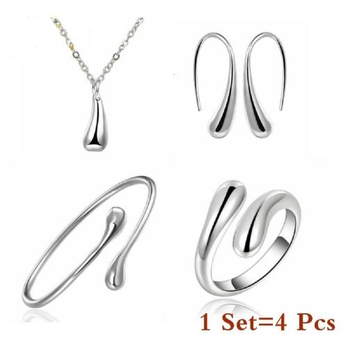 4 szt. Ślubna moda biżuteria kształt kropli wody zestaw elegancki łańcuszek bransoletka pierścionek hak owalne kolczyki