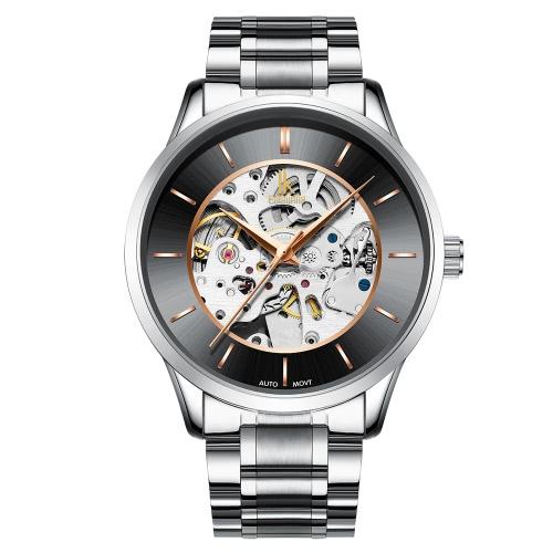 IK COLORING Esqueleto De Lujo Reloj Automático Mecánico De Hombres Reloj De Uno mismo-Viento De Acero Inoxidable Hombre Reloj De Negocios