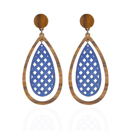 Art- und Weisedame-natürliche hölzerne Ohr-Bolzen für Frauen-Wasser-Form-Tropfen baumeln Ohrringe