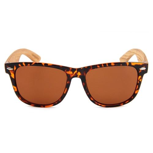 Moda Wayfarer Gafas de sol de madera natural con lentes polarizadas para hombres y mujeres