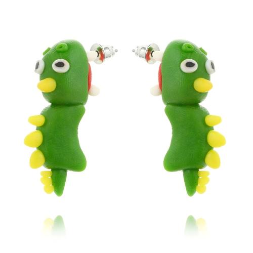 Moda Interessante Handmade Polymer Clay Animal Ear Studs Cartoon Green Worm Brincos para mulheres Jóias