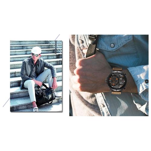 CURREN Cool Three Time Zone Quartz Men Watch Water-Proof Sports Style Chrono PU Band Man Casual Wristwatch