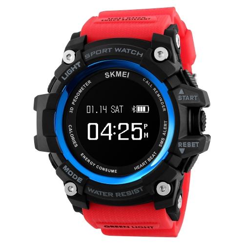 SKMEI BT4.0 reloj deportivo inteligente 3ATM pulsera a prueba de agua Smart Podómetro de ritmo cardíaco / Sleep Monitor alarma Cronómetro Recordatorios compatibles IOS 7.0 y Android 4.3 o superior