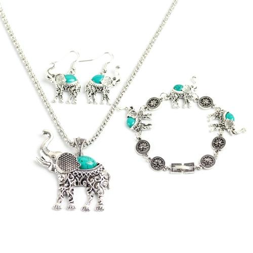 Moda Bohemia Retro Búho Elefante Tres piezas Pulsera Pendientes Collar Conjunto de joyas