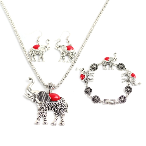 Mode Retro Böhmischen Stil Eule Elefanten Drei Stücke Armband Ohrringe Halskette Schmuck-Set