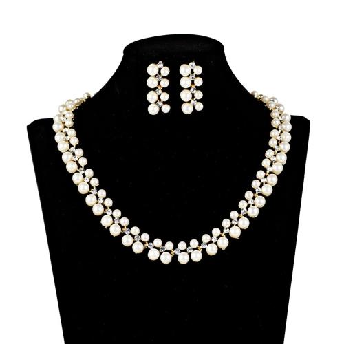 Nueva gota de agua perla Rhinestone collar pendientes conjunto de joyas para la boda del partido accesorio nupcial