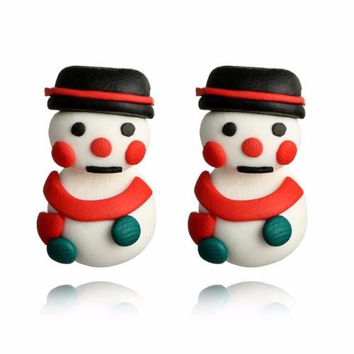Pendientes de oreja de muñeco de nieve lindo hecho a mano