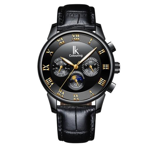 IKColouring Fashion Business relojes automáticos para hombres 1ATM Life resistente al agua luminoso mecánicos hombre reloj de pulsera calendario fase lunar