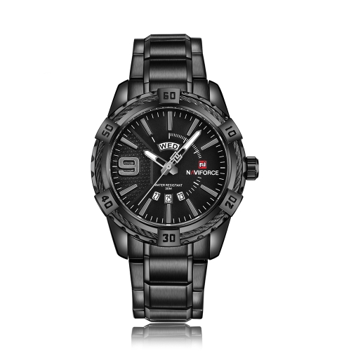 NAVIFORCE Moda Causal Men Relógios Quartz Masculino Watch 3ATM Water-resistant Luminous Wristwatch Calendário Time Display