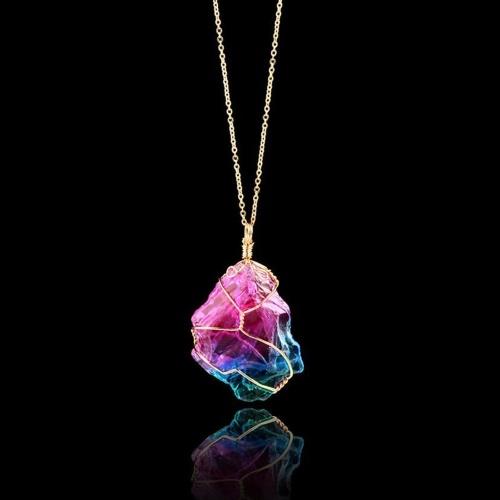 Mode kreative Regenbogen Kristall Naturstein Ohrringe Eardrop und bunten Draht Verpackung lange Anhänger Halsketten eine wählbare Anzug Accessorie für Frauen und Mädchen