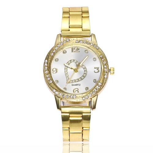Мода Diamond Watch Number Scale Heart Кварцевые часы Сплав Band для женщин Украшение