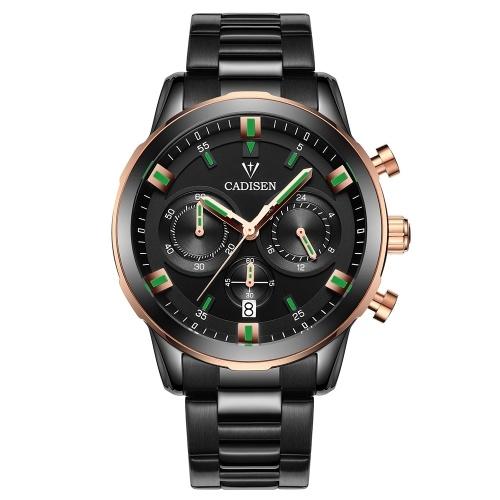 Cadisen Montre Hommes Sport Chronographe Horloge À Quartz Montre-Bracelet D'affaires Étanche Hommes