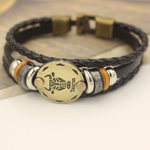12 Созвездия Браслет Мода Ювелирные изделия Кожаный браслет Мужчины Случайная Личность Знаки зодиака Панк Браслет