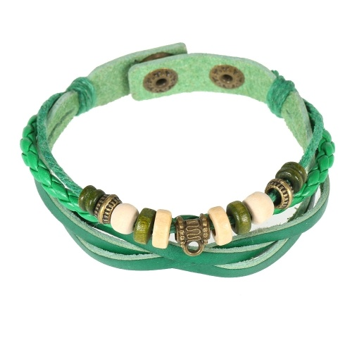 Braccialetti di cuoio retro dei braccialetti di cuoio del braccialetto intrecciato unisex dei monili di modo 1 #