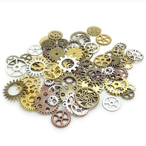 Parti di gioielli artigianali vintage d'epoca a forma di ingranaggi di ruote di ingranaggi meccanici accessori vintage a pendente di Steampunk