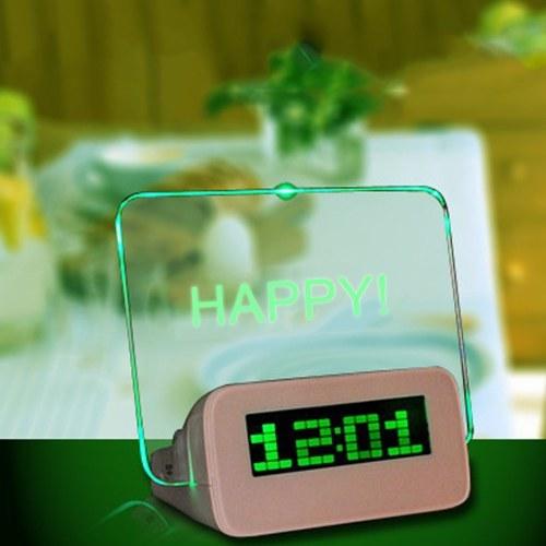 メッセージボードデジタル目覚まし時計液晶電子時計大画面ロマンチックな蛍光灯ミュート目覚まし時計