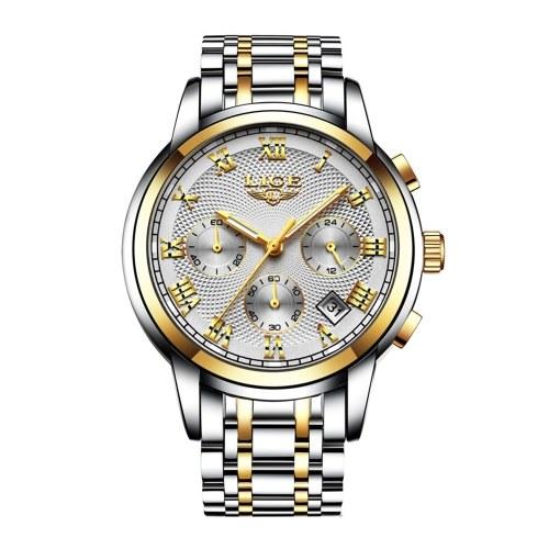 Orologio da polso da uomo di lusso LIGE in acciaio inossidabile con orologio al quarzo sportivo da uomo