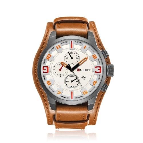 カレンメンズスポーツクォーツ時計ファッションカレンダー時計ビッグダイヤルレザーストラップ腕時計