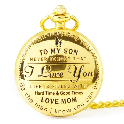 To My Son I Love You Retro Series Pocket Watch Quartz Watches Pendent Necklace Watch Chain Best Christmas Gift for Children