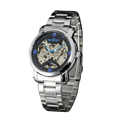 Montre-bracelet automatique squelette de bracelet en acier inoxydable de la mode en acier inoxydable de montre d'affaires de luxe d'hommes d'affaires