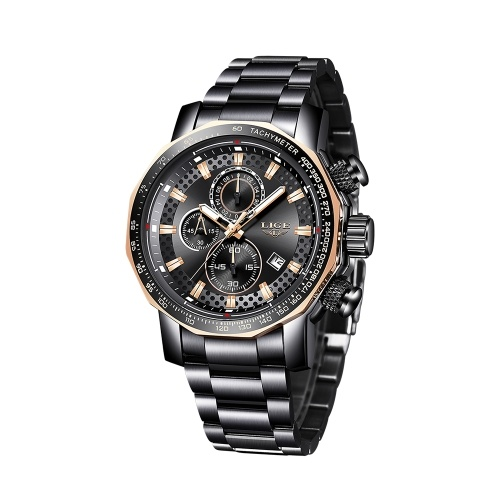 LIGE Men Multifunctional Business Wrist Watches Fashion Sports Waterproof Calendar Analog Quartz Watch